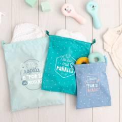 Set de Bolsas de Tela Organizadoras Para Los Imprescindibles de Tu Bebé