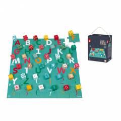 KUBIX - 40 Cubos de Madera + Puzle de Cartón Letras/Números