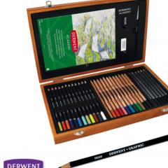 Caja de Madera Derwent Sketching 35 Piezas para Bellas Artes