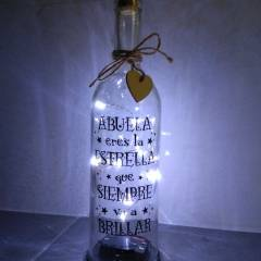 Botella de Cristal con luz y mensaje