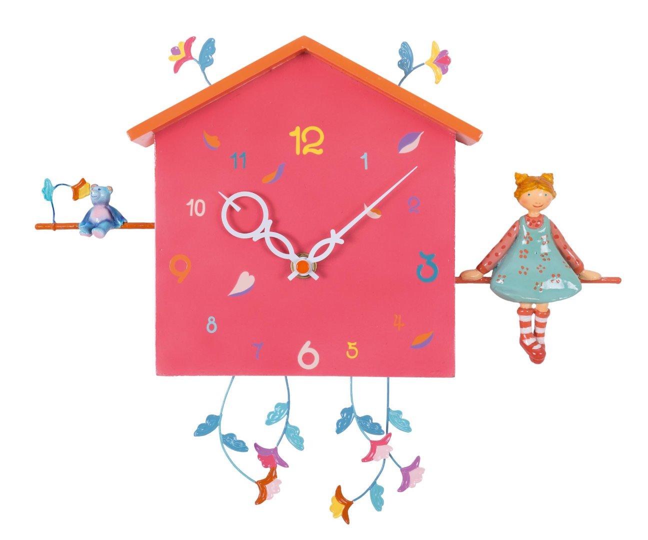 35eb21bf1a16 Reloj de pared infantil - La niña y el osito